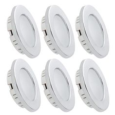 Dream Lighting Under Cabinet LED Lighting 12 Volt 2W Cool White Silver Shell Recessed Downlights for RV Motorhome Camper Trailer Pack of 6. For product info go to:  https://www.caraccessoriesonlinemarket.com/dream-lighting-under-cabinet-led-lighting-12-volt-2w-cool-white-silver-shell-recessed-downlights-for-rv-motorhome-camper-trailer-pack-of-6/