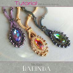 Beadingweaving pattern - Necklace 'Dalinda'  Swarovski navette, pearls and seedbeads.