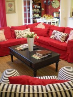 LIVING ROOM WITH A RED IKEA SOFA IDEARS