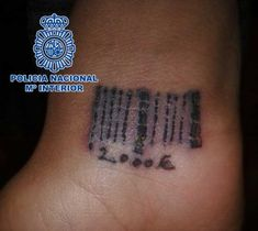 A woman forced into prostitution and rescued by the Spanish National Police in Madrid has a bar code on her wrist. The tattoo also displays the amount of money she owed her traffickers: euros. The woman had multiple injuries from being beaten. Awful Tattoos, Barcode Tattoo, Stop Human Trafficking, National Police, Old Women, Tattoos For Women, Tattooed Women, Tattoo Quotes, Coding