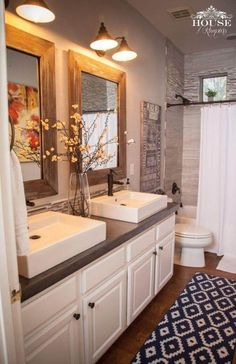 26. DIY Concrete Farmhouse Bathroom Countertop