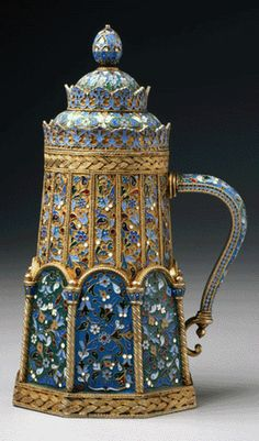 A silver gilt and plique-á-jour tankard, circa 1888–96, from the Moscow workshop…