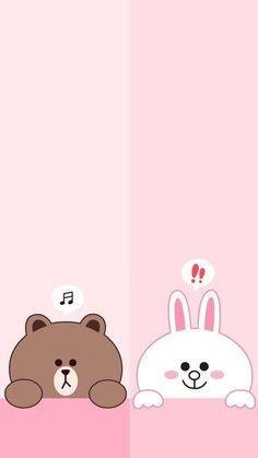 Bear and bunny wallpape samsung Wallpaper Wa, Cute Panda Wallpaper, Blue Wallpaper Iphone, Lines Wallpaper, Brown Wallpaper, Cute Disney Wallpaper, Kawaii Wallpaper, Cute Wallpaper Backgrounds, Galaxy Wallpaper