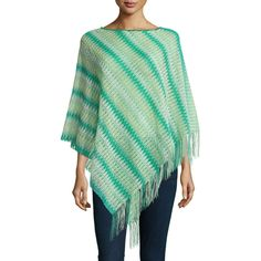 Missoni Wool-Blend Zigzag Fringe Poncho featuring polyvore, fashion, clothing, outerwear, green, missoni, poncho cape, wool blend cape coat, poncho cape coat and fringe poncho