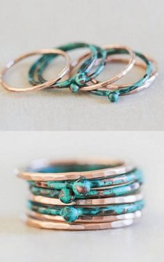 Mint Stacking Ring & Rose Gold Stacking Rings