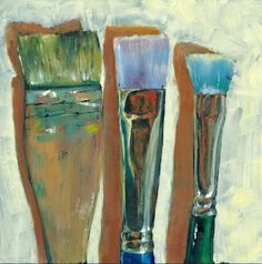 Menage a Trois, painting by artist Brenda Ferguson Paint Brushes, Still Life, Art For Kids, Art Photography, Original Art, Projects To Try, Scrapbook, Crayons, Oil Paintings