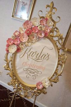 Welcome sign at a vintage romantic baptism party! See more party planning ideas… Fiesta Shower, Shower Party, Bridal Shower, Baby Shower Princess, Princess Party, Christening Frames, Pink Und Gold, Blush Pink, Nursery Frames