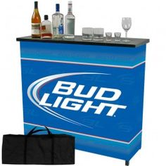 This Bud Light portable bar is a space saver for any alcohol enthusiast.  This protable bar has two shelves which provide more than enough space for all your drinks and accessories. It's constructed of metal and has four strong legs. The bar collapses for easy space saving storage and includes a convenient carrying case for transportation. The outdside wrap with the Bud Light logo printed is made of a tarp material.