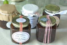 to jazz up my canned goods for giving as gifts.  twine, ribbon, cute labels.