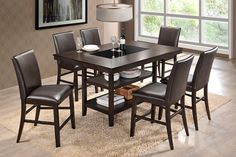 7Pc Counterheight Dinette Set, Causal lifestyle contemporary 7Pc Counterheight Dinette set that has it all. Harwoods construction, 2 lower storage shelves, tempered glass insert and comfo