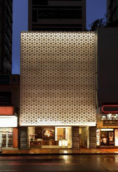 sulwhasoo boutique in HK Facade Architecture, Beautiful Architecture, Beautiful Buildings, Landscape Lighting Design, Architectural Lighting Design, Retail Facade, Building Facade, Building Skin, Building Exterior