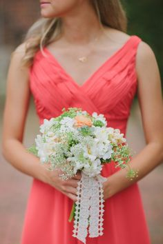 Coral & gray museum and gardens wedding