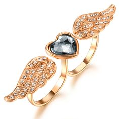 Heart Wings Rhinestone Two Fingers Adjustable Double Ring