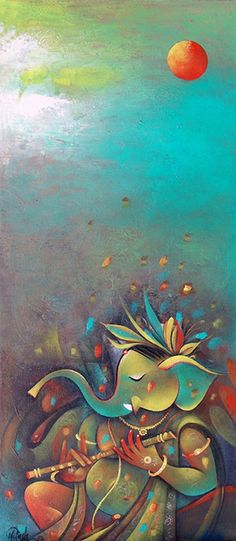 Spiritual Paintings, Lord Ganesha Paintings, Ganesha Art, Canvas Painting Designs, Mural Painting, Indian Art Paintings, Modern Art Paintings, Daisy Painting, Ganesh Lord