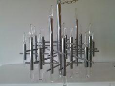"Mid-Century Modern Chrome Chandelier By ""Gaetanto Sciolari"" by FLORIDAMODERN on Etsy"