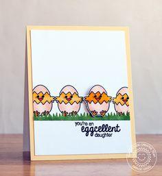 Sunny Studio: A Good Egg Eggcellent Daughter Chick card by Marion Vagg.