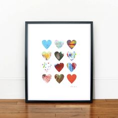 """""""Your Kid's Art - punch into hearts & frame! Such a fun idea!"""" - I find that comment hilarious!, it's like """"oh child, what a nice drawing! Here, I'm gonna cut it all up so that it actually looks how I want it to. Art Wall Kids, Art For Kids, Crafts For Kids, Arts And Crafts, Paper Crafts, Kids Artwork, Classroom Art Projects, Diy Craft Projects, Diy Crafts"""