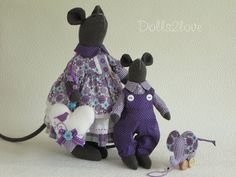 Tilda style mouse couple Lizzy & Luc by Dolls2love on Etsy, €87.50.