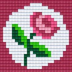 Roze roos | Pixel Party Mini Cross Stitch, Cross Stitch Cards, Simple Cross Stitch, Cross Stitch Borders, Cross Stitch Rose, Cross Stitch Flowers, Cross Stitch Designs, Cross Stitching, Cross Stitch Embroidery