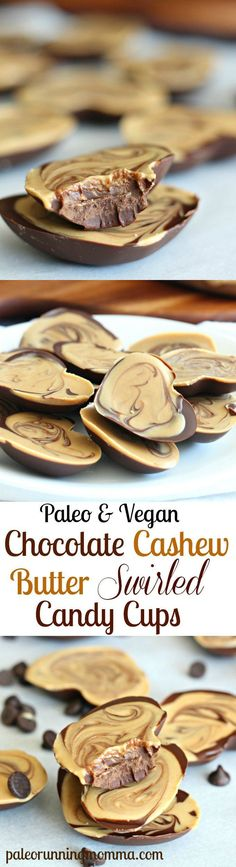 Paleo & Vegan Chocolate Cashew Butter Swirled Candy Cups - So rich and creamy! You can make these heart shaped for Valientines Day, or in cupcake liners. Paleo Dessert, Healthy Sweets, Delicious Desserts, Dessert Recipes, Yummy Food, Candy Recipes, Whole Food Recipes, Cooking Recipes, Whole Foods