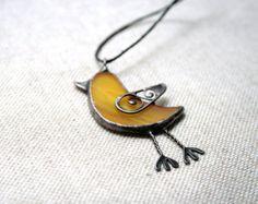 Bird necklace, spring bird jewelry, stained glass