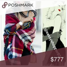 """💋💖LAST ONE 💖💋Oversized blanket scarf 💋Host Pick💋 Brand new, Boutique item 👍Price is firm👍  Wrap yourself up in this season must have oversized  plaid print blanket scarf. There are so many way to wrap yourself up in this fabulous scarf. Check out pic #4 for styling options!  Approximately 58""""x58"""" Acrylic material Multi Color:red/yellow/black/green (Actual scarf pics 2 and 3) Pics 1&4 styling options Brand new no tags Accessories"""