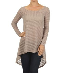 Look at this #zulilyfind! Taupe Waffle-Knit Hi-Low Top by J-Mode USA Los Angeles #zulilyfinds