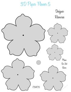3D PAPER FLOWER TEMPLATES 5 - CU4CU by Janice Shehan Here is a cute series of 3D Paper Flower Templates. These can be used for CU4CU. Be…