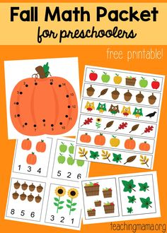 Free 10-page fall math packet for preschoolers. Works on counting, patterns, comparing, and number sequence.