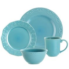 I pinned this Paula Deen 16 Piece Whitaker Dinnerware Set in Aqua from the A Festive Feast event at Joss and Main!