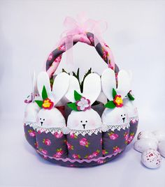 Boys easter basket appliqued with bunny includes liner basket bunny rabbit easter basket egg for girls or boys basket bunny rabbit basket gift decoration basket negle Choice Image