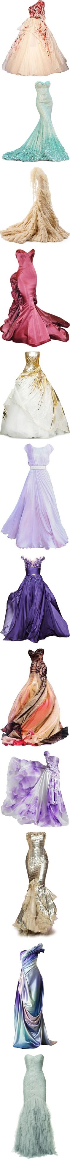 """Long Dresses"" by anime8 ❤ --Beaitiful gowns. I love the first floral gown & the beautiful eighth purple gown."