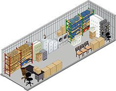 10 x 20 storage unit showing typical items stored in this size unit