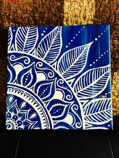 Maybe put something like this in the corner of my bright blue pegboard in my kitchen? - Mandala acrylic canvas