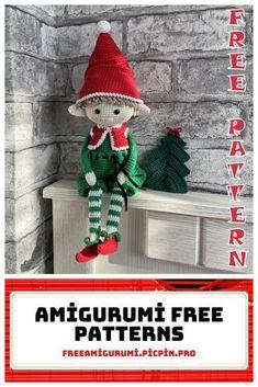 Christmas Elf Amigurumi Free Crochet Pattern - Amigurumi Crochet Amigurumi Free Patterns, Christmas Crochet Patterns, Crochet Doll Pattern, Christmas Knitting, Crochet Dolls, Free Crochet, Crochet Christmas, Diy Christmas Ornaments, Christmas Elf
