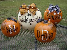 Adorable Personalized Pumpkins- Spider Web