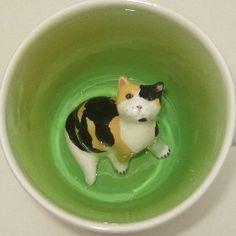 Calico Cat Surprise Mug by SpademanPottery on Etsy, $30.00