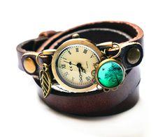 WickelUhr *ArmbandUhr*Leder  Sorgenfrei von Fleur Noire-Schmuckdesign by Polarkind auf DaWanda.com für 26,90 €
