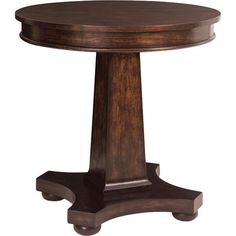 Display a vase of colorful blooms or an array of cherished family photos, this lovely end table features a round top and pedestal base.