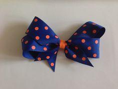 Blue and Orange Polka Dot Grosgrain Hair Bow Florida Gators by OrchardandGray, $7.50