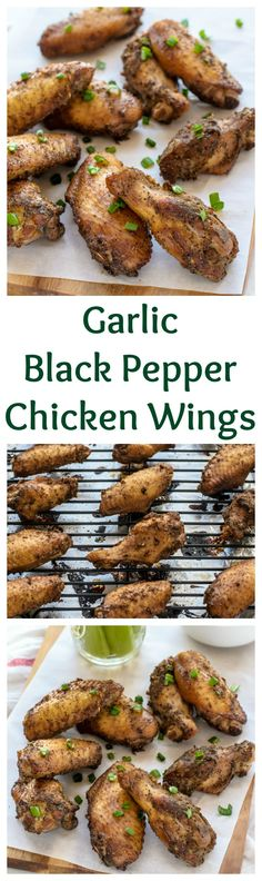 Easy Baked Garlic Black Pepper Chicken Wings, this is a must for a game day appetizer!