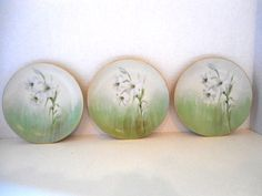 Bavarian Plates   -  all Artist Signed on the Front  -  Gold Edges  Set of 3