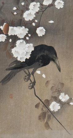 Crow woodblock print by Hiroshige