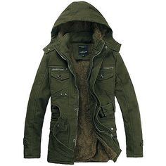 Mens Winter Hooded Fur Lined Military Coat Overcoat Jacket Parka Outwear M-XXL