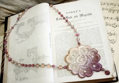 lace necklace ROSA ombre ecru tinaevarenee on Etsy