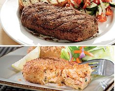Top Sirloin Steaks and Maine Crabcakes Top Sirloins aged up to 28 days to enhance flavor Maine's finest Crab Cakes. Kansas City Steaks 4 (5oz.) Bacon Wrapped Top Sirloin & 4(3oz) Crabcakes