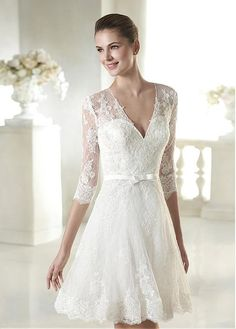 Cheap bridal gown, Buy Quality wedding dress bridal gown directly from China simple short wedding dresses Suppliers: Half Sleeve V Neck White Lace Simple Short Wedding Dress Bridal Gown with Sash vestido de noiva Grecian Wedding, Short Lace Wedding Dress, 2015 Wedding Dresses, Tea Length Wedding Dress, Wedding Dress Sleeves, Cheap Wedding Dress, Bridal Dresses, Wedding Gowns, Lace Dress