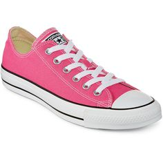 Converse Unisex Chuck Taylor All Star Sneakers ($50) ❤ liked on Polyvore featuring shoes, sneakers, converse, laced up shoes, pink sneakers, star shoes, laced shoes and pink shoes