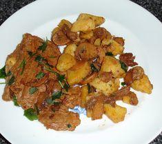 INGREDIENTES: 500gr bifanas de porco 1 lata (grande) de cogumelos 2 colheres (sopa) de polpa de tomate 2 colheres (sopa) de banha ...