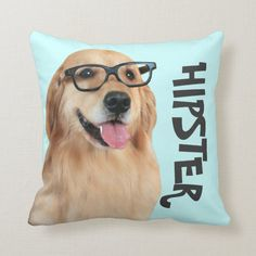 Shop Golden Retriever Hipster Nerd Throw Pillow created by AugieDoggyStore. Golden Retriever Gifts, Golden Retrievers, Hipster Dog, Pillow Inspiration, Cute Funny Dogs, Dog Wedding, Geek Humor, Happy Dogs, Dog Gifts